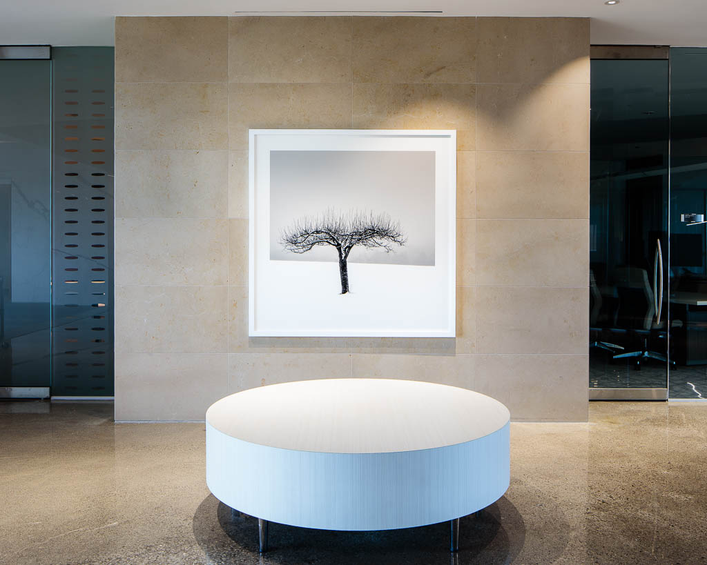 Art, Black and White, Corporate Art, Installation, Large, Limestone, Marble, Minimalist, Modern, Photography, Shibumi, Snow, Tree, Winter, Zen