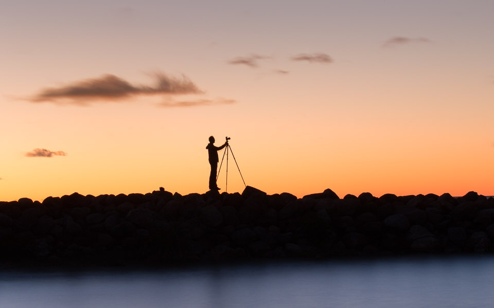 Peter Dušek photographs after sunset. Photo by Kevin Walsh.
